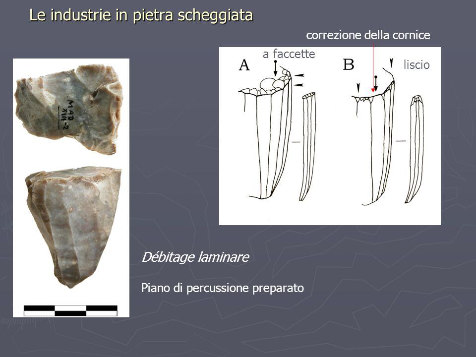 Le industrie in pietra scheggiata Débitage laminare Piano di percussione preparato liscio a faccette correzione della cornice
