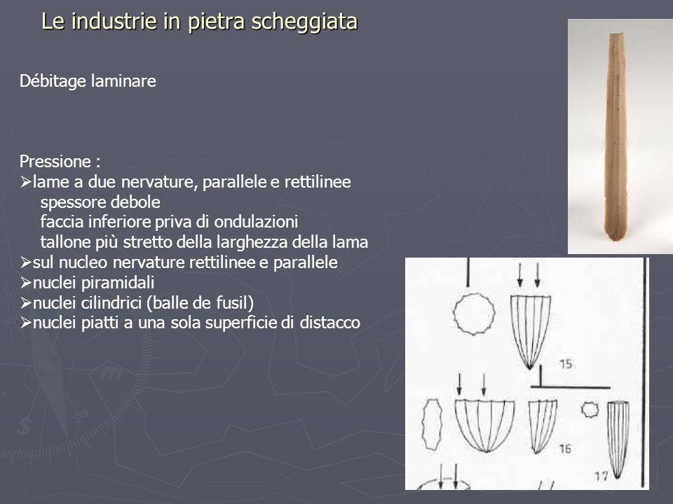 Le industrie in pietra scheggiata Débitage laminare Pressione : lame a due nervature, parallele e rettilinee spessore debole faccia inferiore priva di