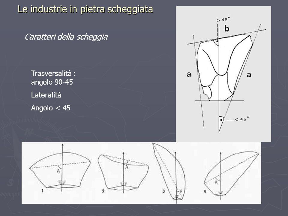 Le industrie in pietra scheggiata Caratteri della scheggia Trasversalità : angolo 90-45 Lateralità Angolo < 45