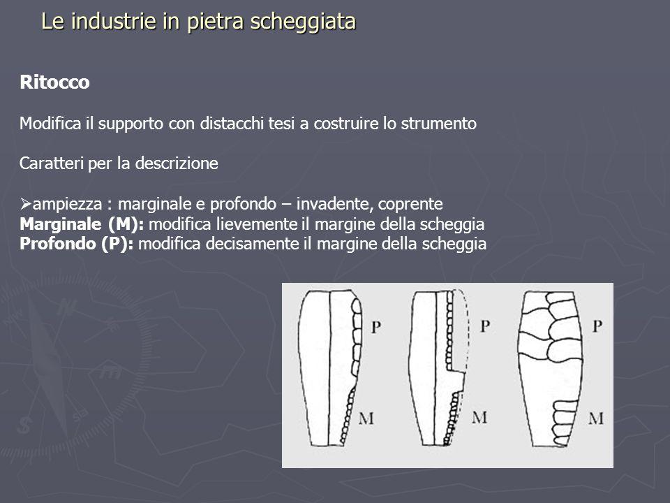 Le industrie in pietra scheggiata Ritocco Modifica il supporto con distacchi tesi a costruire lo strumento Caratteri per la descrizione ampiezza : mar