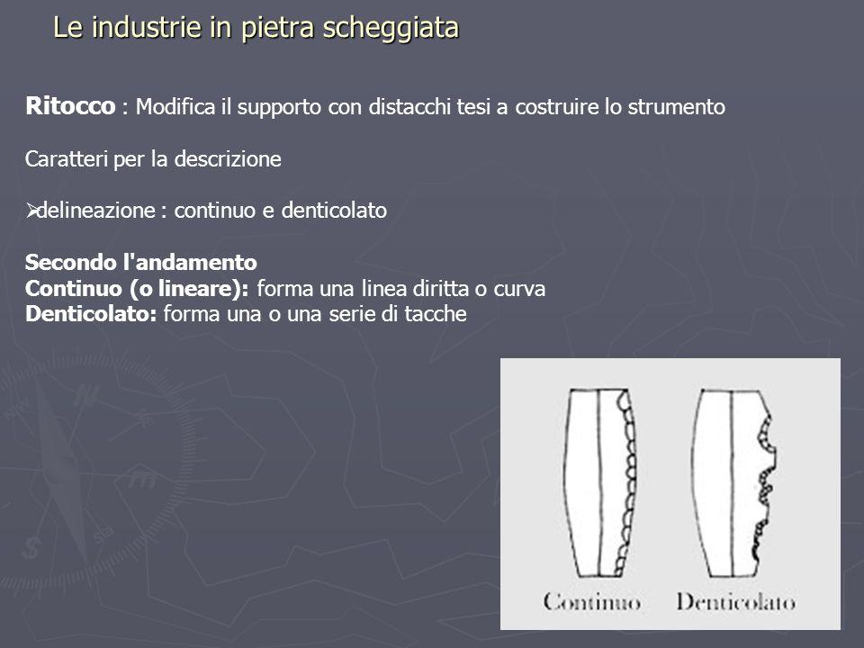 Le industrie in pietra scheggiata Ritocco : Modifica il supporto con distacchi tesi a costruire lo strumento Caratteri per la descrizione delineazione