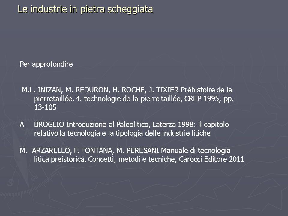 Le industrie in pietra scheggiata Per approfondire M.L. INIZAN, M. REDURON, H. ROCHE, J. TIXIER Préhistoire de la pierretaillée. 4. technologie de la