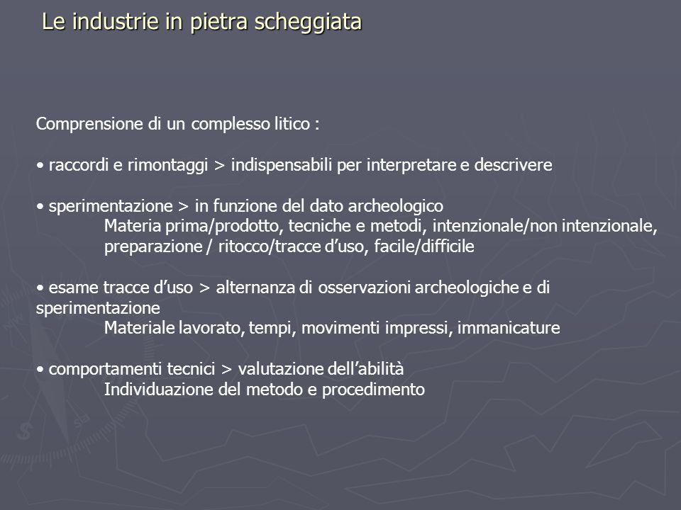 Le industrie in pietra scheggiata Comprensione di un complesso litico : raccordi e rimontaggi > indispensabili per interpretare e descrivere speriment