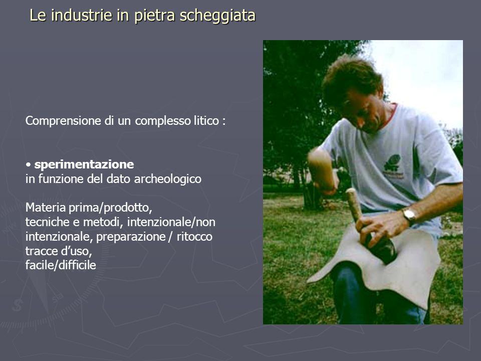 Le industrie in pietra scheggiata Comprensione di un complesso litico : sperimentazione in funzione del dato archeologico Materia prima/prodotto, tecn