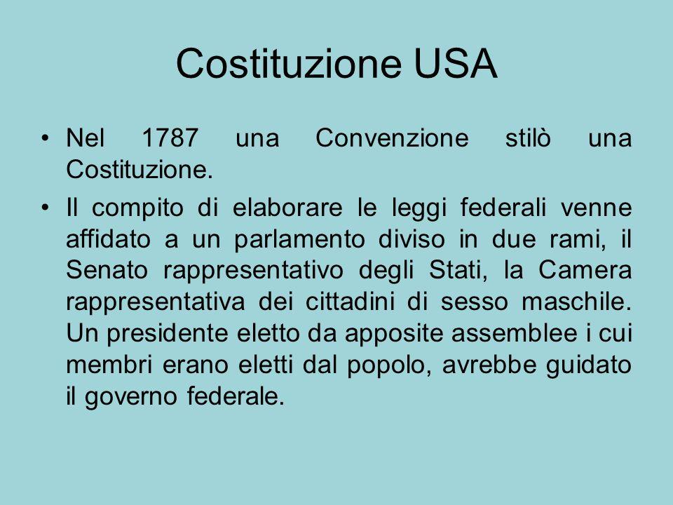 Costituzione USA Nel 1787 una Convenzione stilò una Costituzione. Il compito di elaborare le leggi federali venne affidato a un parlamento diviso in d