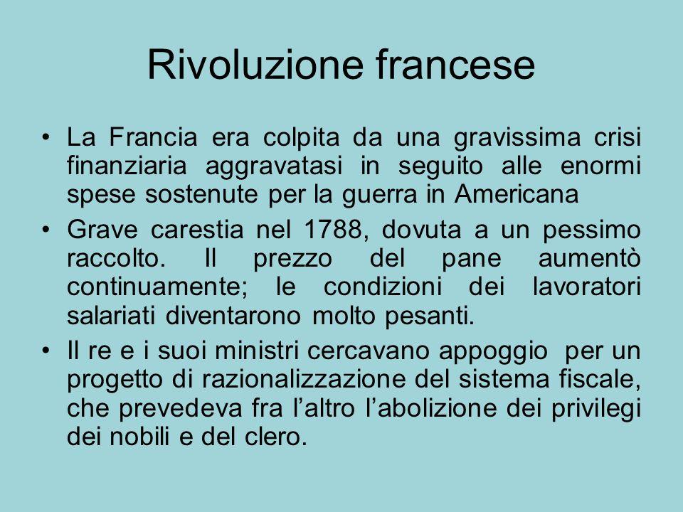 Rivoluzione francese La Francia era colpita da una gravissima crisi finanziaria aggravatasi in seguito alle enormi spese sostenute per la guerra in Am