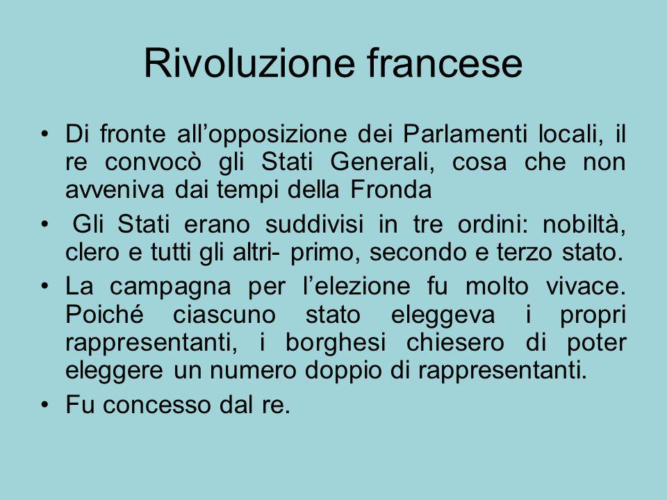 Rivoluzione francese Di fronte allopposizione dei Parlamenti locali, il re convocò gli Stati Generali, cosa che non avveniva dai tempi della Fronda Gl