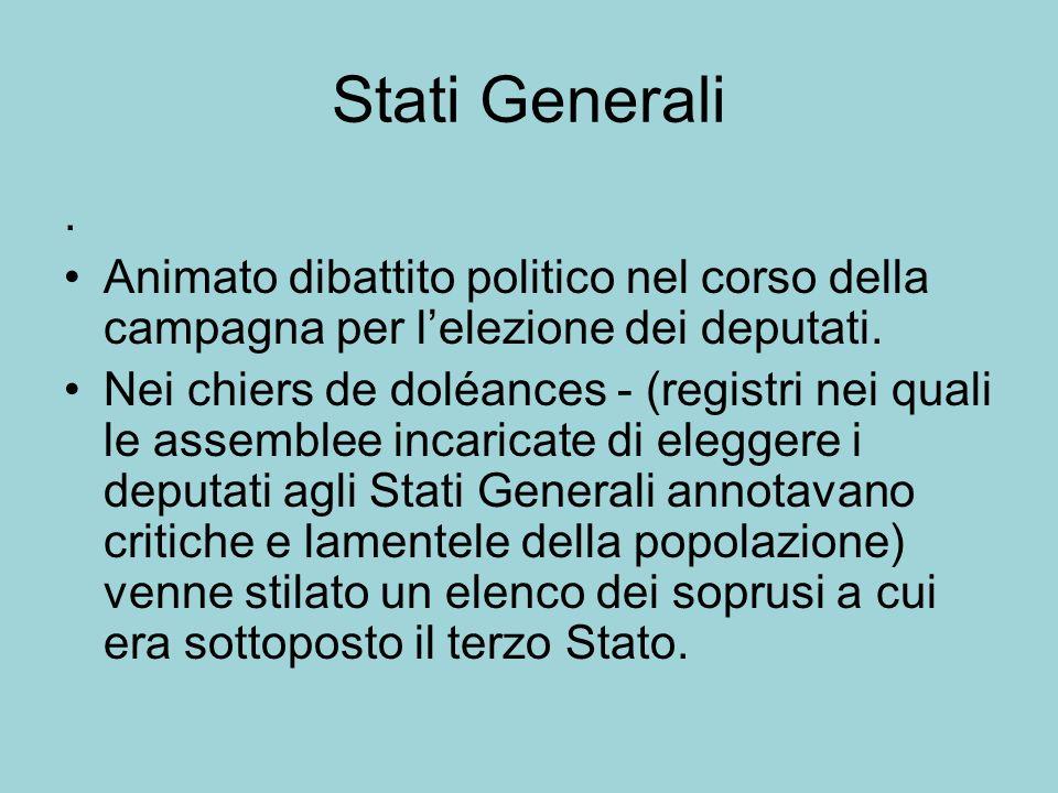 Stati Generali. Animato dibattito politico nel corso della campagna per lelezione dei deputati. Nei chiers de doléances - (registri nei quali le assem