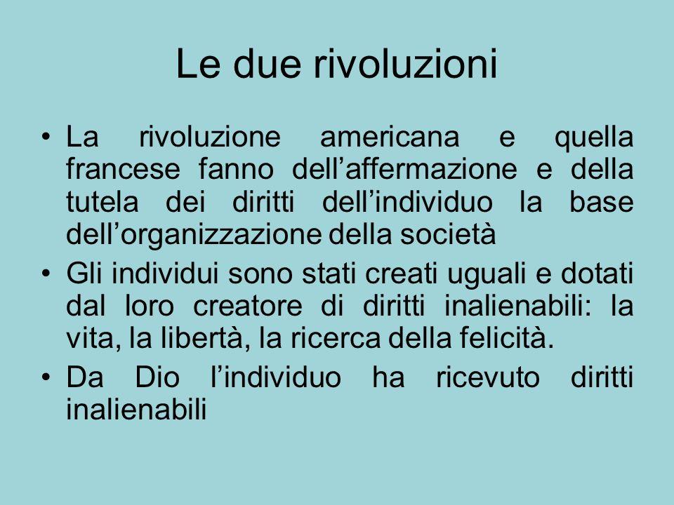 Le due rivoluzioni La rivoluzione americana e quella francese fanno dellaffermazione e della tutela dei diritti dellindividuo la base dellorganizzazio
