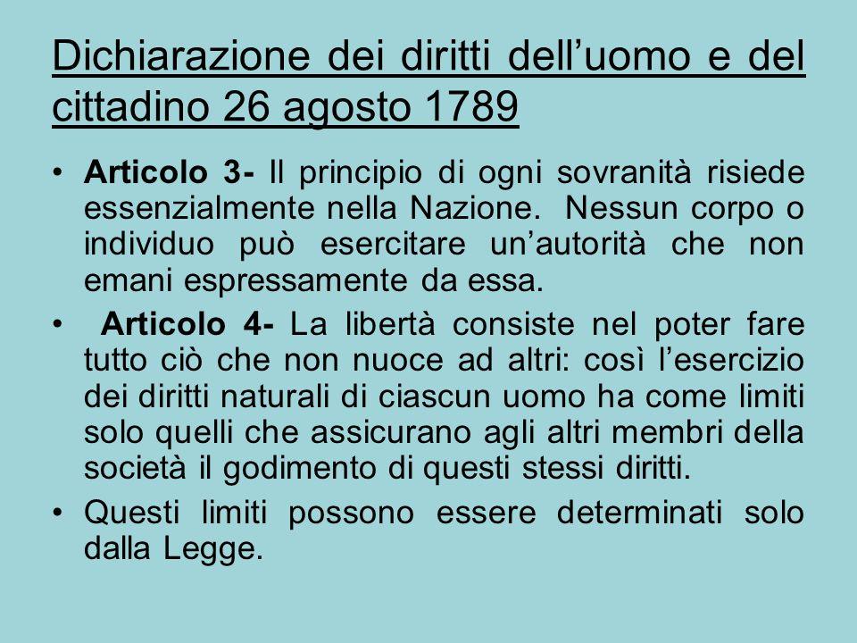 Dichiarazione dei diritti delluomo e del cittadino 26 agosto 1789 Articolo 3- Il principio di ogni sovranità risiede essenzialmente nella Nazione. Nes