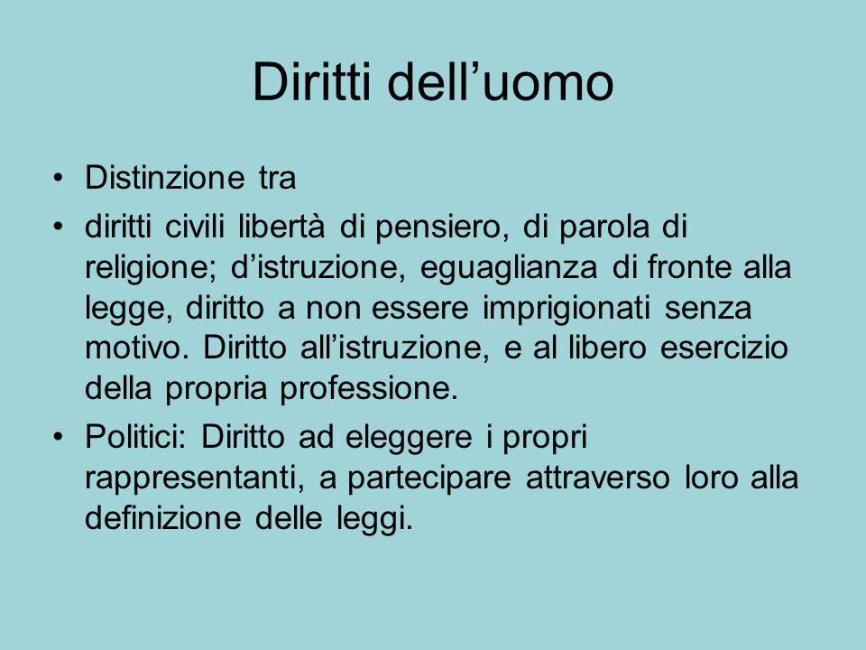 Diritti delluomo Distinzione tra diritti civili libertà di pensiero, di parola di religione; distruzione, eguaglianza di fronte alla legge, diritto a