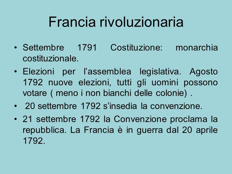 Francia rivoluzionaria Settembre 1791 Costituzione: monarchia costituzionale. Elezioni per lassemblea legislativa. Agosto 1792 nuove elezioni, tutti g