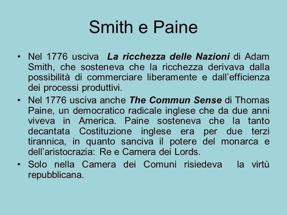 Smith e Paine Nel 1776 usciva La ricchezza delle Nazioni di Adam Smith, che sosteneva che la ricchezza derivava dalla possibilità di commerciare liber