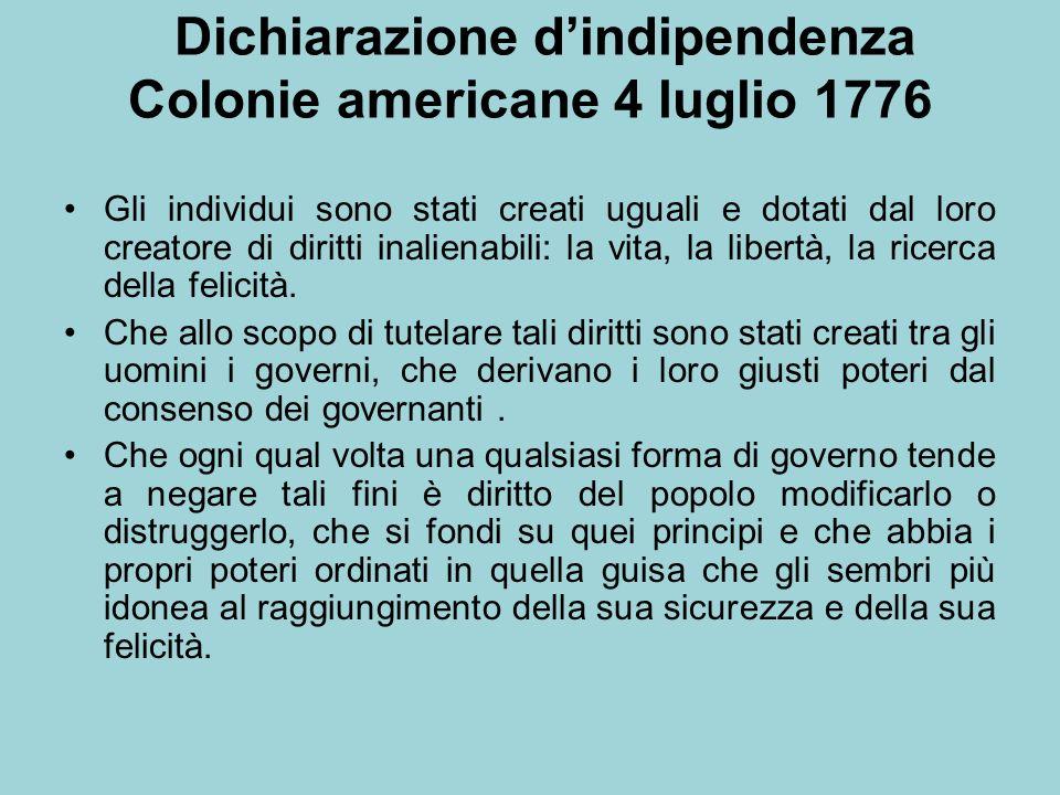 Dichiarazione dindipendenza Colonie americane 4 luglio 1776 Gli individui sono stati creati uguali e dotati dal loro creatore di diritti inalienabili: