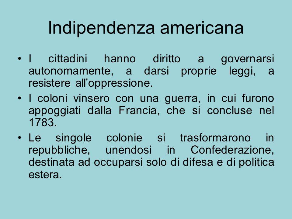 Indipendenza americana I cittadini hanno diritto a governarsi autonomamente, a darsi proprie leggi, a resistere alloppressione. I coloni vinsero con u