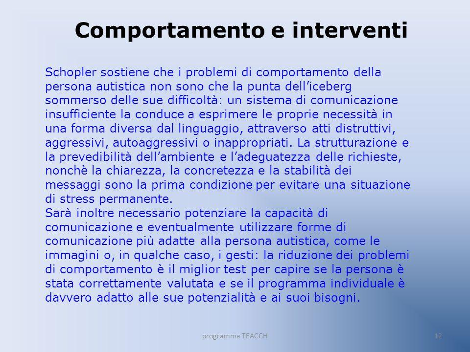 programma TEACCH12 Comportamento e interventi Schopler sostiene che i problemi di comportamento della persona autistica non sono che la punta delliceb