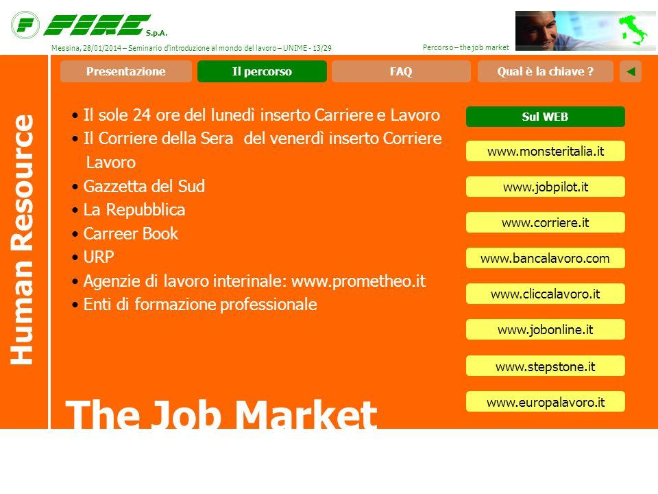 S.p.A. Percorso – the job market Il sole 24 ore del lunedì inserto Carriere e Lavoro Il Corriere della Sera del venerdì inserto Corriere Lavoro Gazzet
