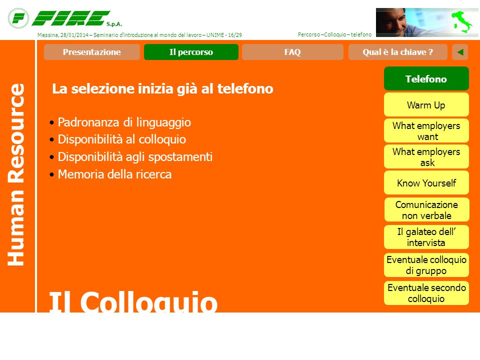 S.p.A. Percorso –Colloquio – telefono La selezione inizia già al telefono Il Colloquio Human Resource Padronanza di linguaggio Disponibilità al colloq