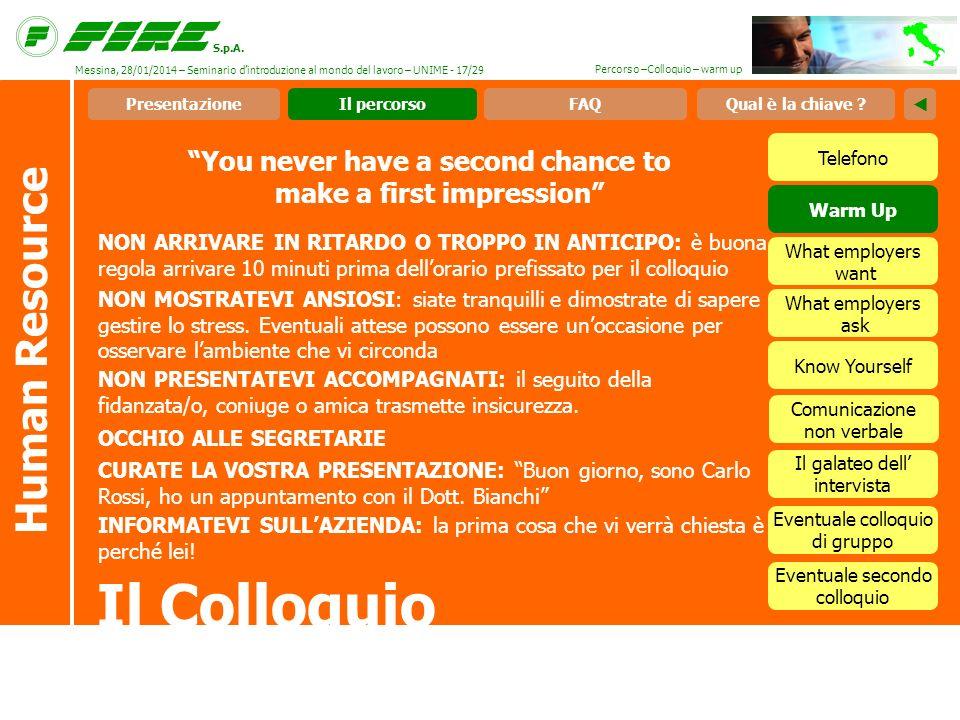 S.p.A. Percorso –Colloquio – warm up You never have a second chance to make a first impression Il Colloquio Human Resource NON ARRIVARE IN RITARDO O T