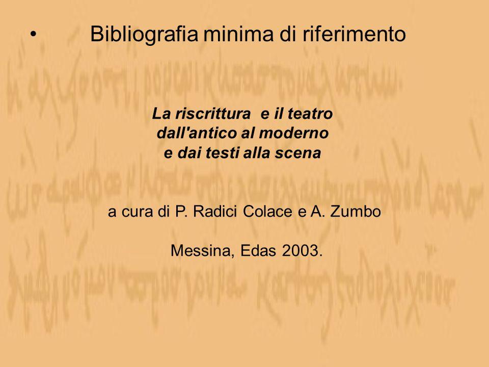 Bibliografia minima di riferimento La riscrittura e il teatro dall'antico al moderno e dai testi alla scena a cura di P. Radici Colace e A. Zumbo Mess