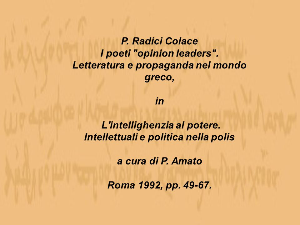 P. Radici Colace I poeti