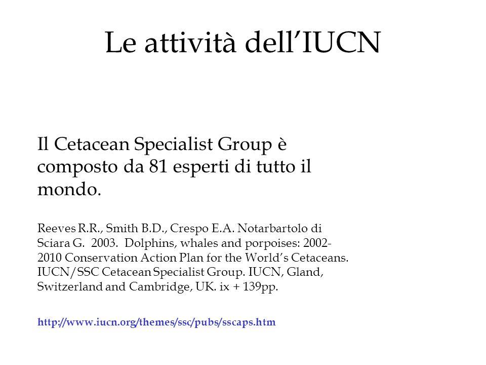 Le attività dellIUCN Il Cetacean Specialist Group è composto da 81 esperti di tutto il mondo.