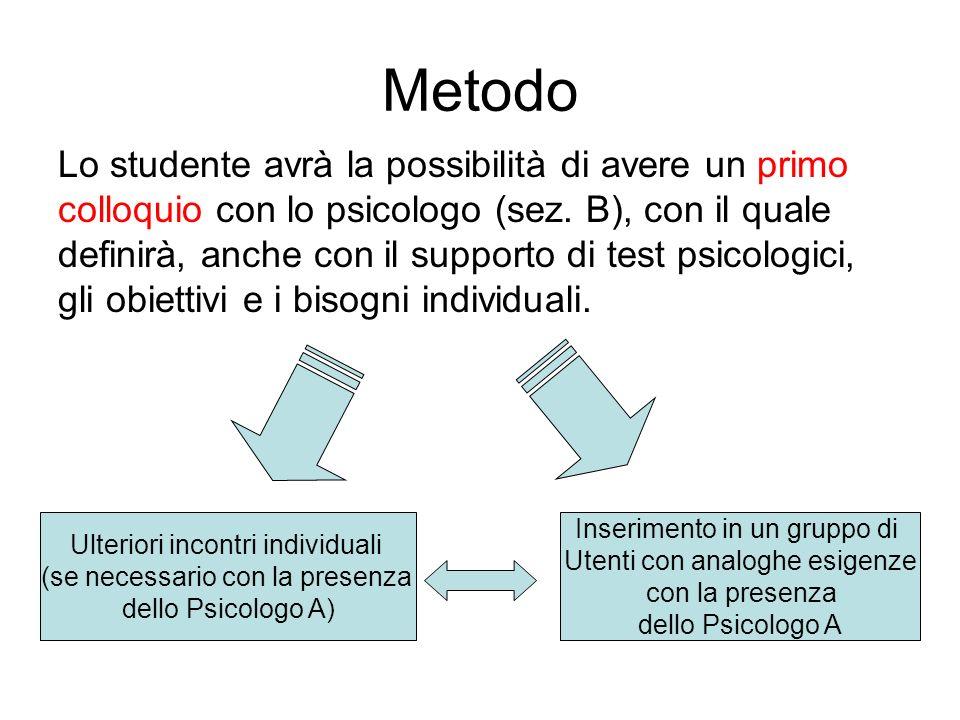 Metodo Lo studente avrà la possibilità di avere un primo colloquio con lo psicologo (sez.