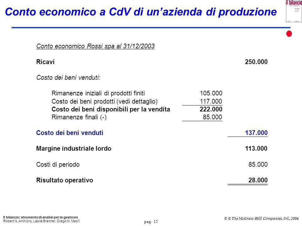 pag. 14 Il bilancio: strumento di analisi per la gestione Robert N. Anthony, Leslie Breitner, Diego M. Macrì © © The McGraw-Hill Companies, Srl., 2004