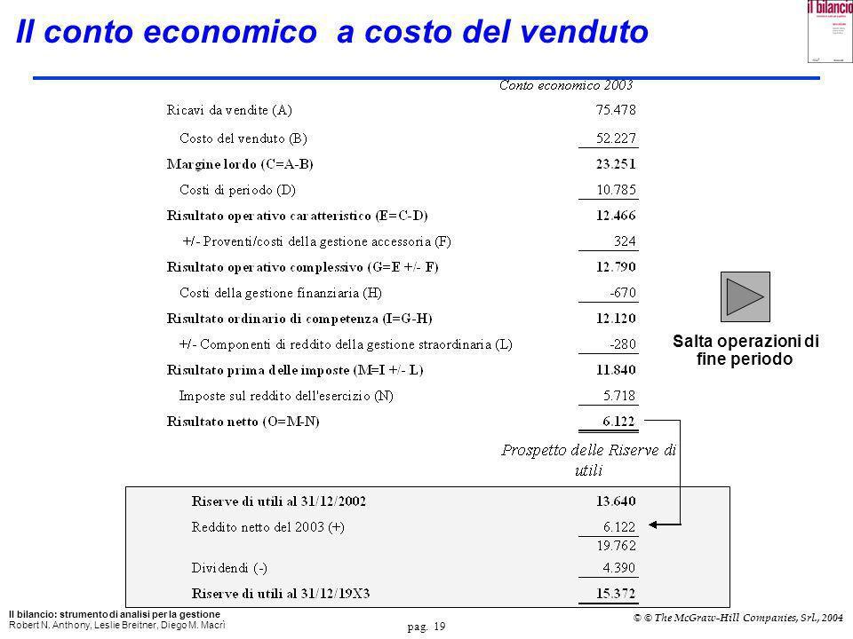 pag. 18 Il bilancio: strumento di analisi per la gestione Robert N. Anthony, Leslie Breitner, Diego M. Macrì © © The McGraw-Hill Companies, Srl., 2004