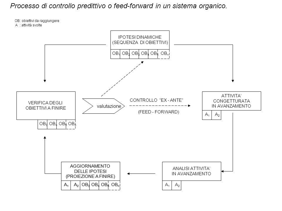 Processo di controllo predittivo o feed-forward in un sistema organico. VERIFICA DEGLI OBIETTIVI A FINIRE IPOTESI DINAMICHE (SEQUENZA DI OBIETTIVI) AT