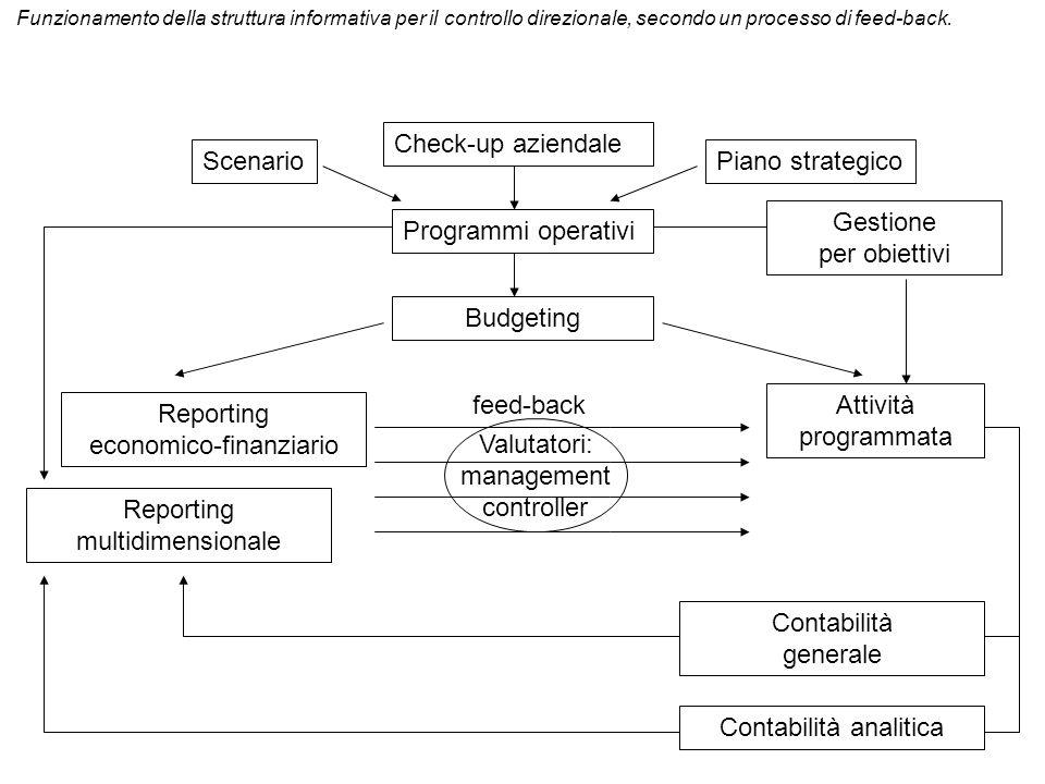 Scenario Check-up aziendale Piano strategico Programmi operativi Budgeting Gestione per obiettivi Reporting economico-finanziario Reporting multidimen