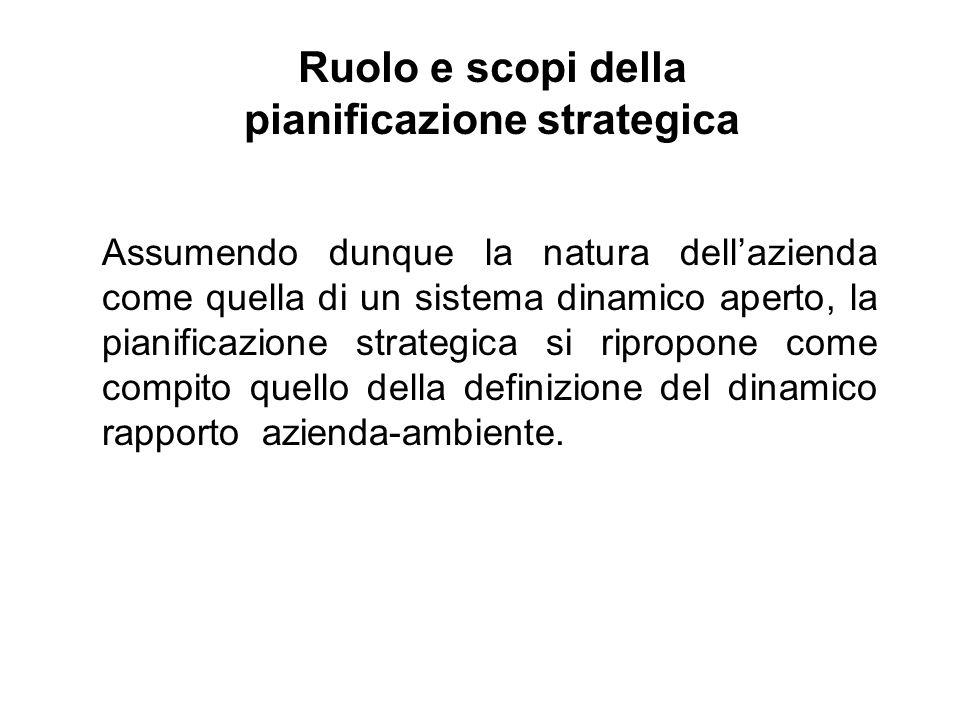 Ruolo e scopi della pianificazione strategica Assumendo dunque la natura dellazienda come quella di un sistema dinamico aperto, la pianificazione strategica si ripropone come compito quello della definizione del dinamico rapporto azienda-ambiente.