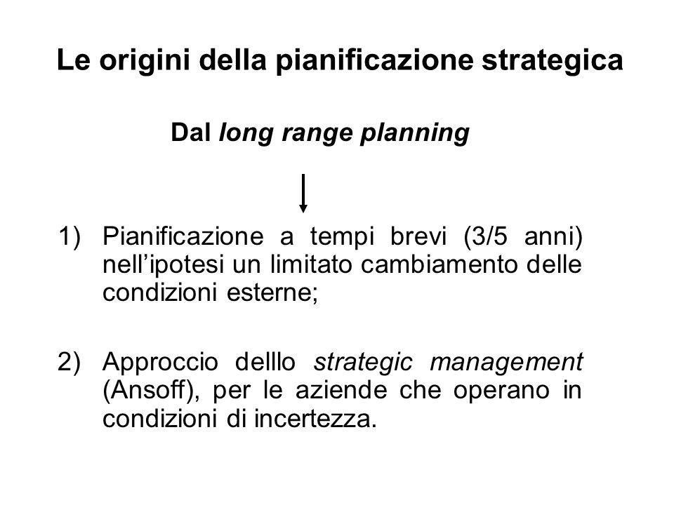 Le origini della pianificazione strategica Dal long range planning 1)Pianificazione a tempi brevi (3/5 anni) nellipotesi un limitato cambiamento delle condizioni esterne; 2)Approccio delllo strategic management (Ansoff), per le aziende che operano in condizioni di incertezza.