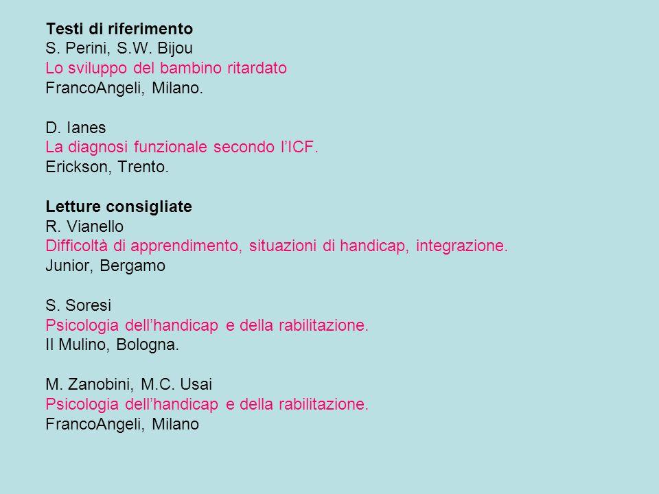 Testi di riferimento S. Perini, S.W. Bijou Lo sviluppo del bambino ritardato FrancoAngeli, Milano. D. Ianes La diagnosi funzionale secondo lICF. Erick