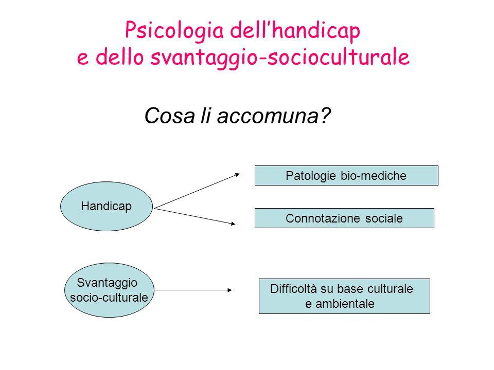 Psicologia dellhandicap e dello svantaggio-socioculturale Cosa li accomuna? Handicap Patologie bio-mediche Connotazione sociale Svantaggio socio-cultu