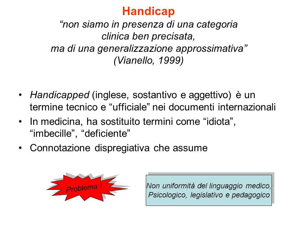 Handicap non siamo in presenza di una categoria clinica ben precisata, ma di una generalizzazione approssimativa (Vianello, 1999) Handicapped (inglese