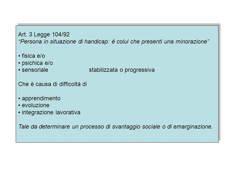 Il sistema internazionale di classificazione Organizzazione Mondiale della Sanità (OMS) 1975 – Proposta dellassemblea: in appendice alla Classification of Desease una classificazione delle conseguenze della malattie 1980 – International Classification of Impairment, Disabilies and Handicaps Introduce la distinzione tra Menomazione, Disabilità, Handicap