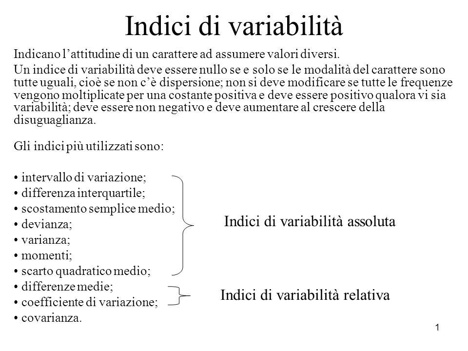 1 Indici di variabilità Indicano lattitudine di un carattere ad assumere valori diversi. Un indice di variabilità deve essere nullo se e solo se le mo