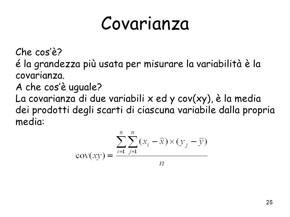 25 Covarianza Che cosè? é la grandezza più usata per misurare la variabilità è la covarianza. A che cosè uguale? La covarianza di due variabili x ed y