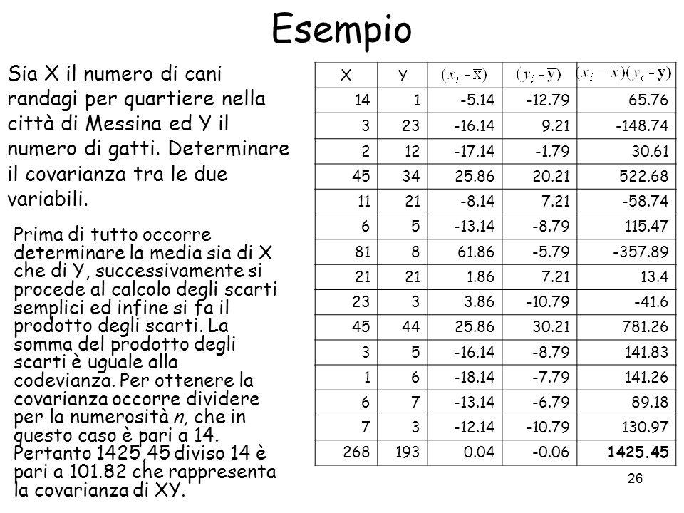 26 Esempio Prima di tutto occorre determinare la media sia di X che di Y, successivamente si procede al calcolo degli scarti semplici ed infine si fa