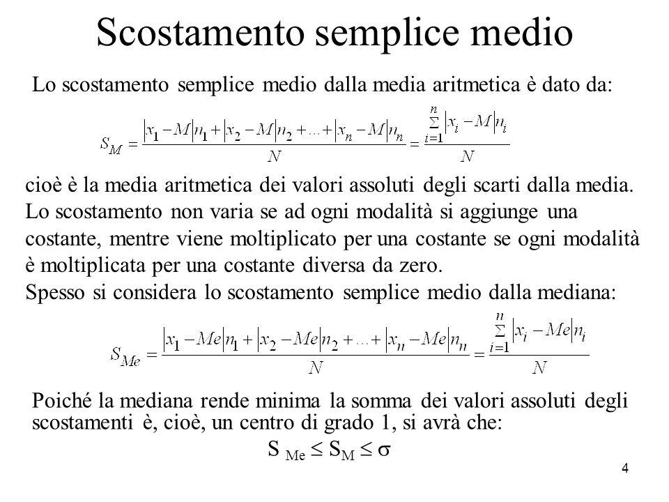 4 Scostamento semplice medio Lo scostamento semplice medio dalla media aritmetica è dato da: cioè è la media aritmetica dei valori assoluti degli scar