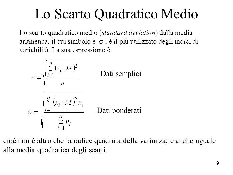 9 Lo Scarto Quadratico Medio Lo scarto quadratico medio (standard deviation) dalla media aritmetica, il cui simbolo è, è il più utilizzato degli indic