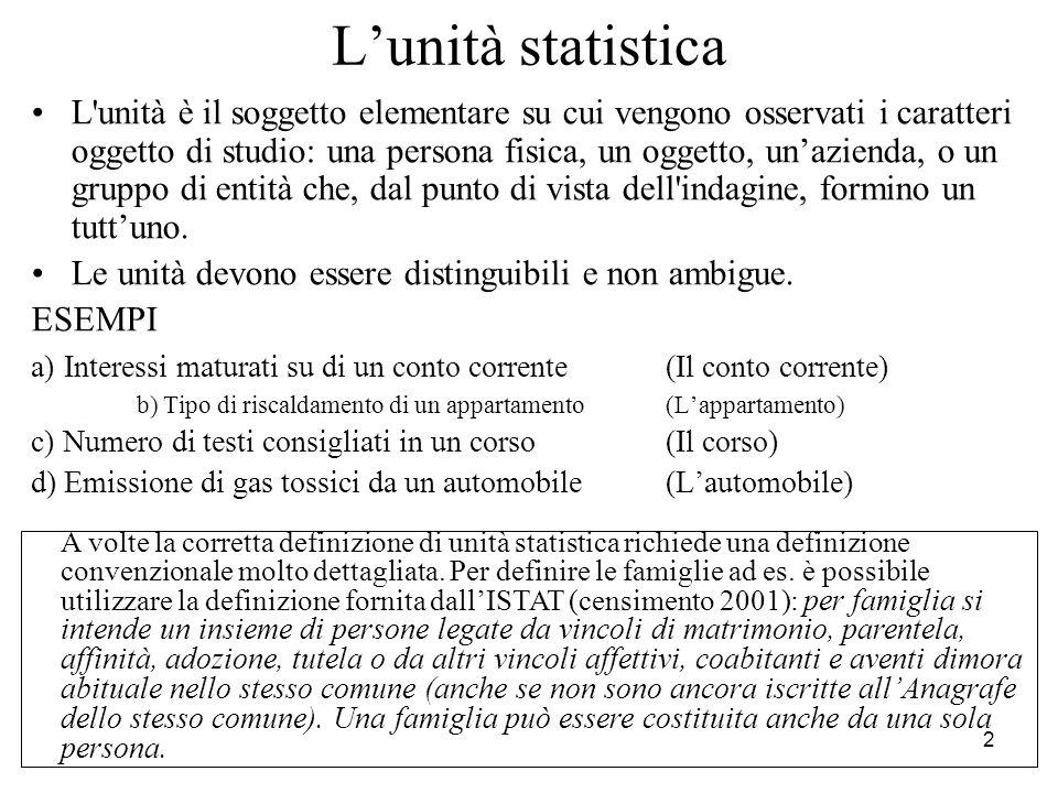 3 La popolazione La popolazione o UNIVERSO è l insieme di tutte e solo le unità statistiche omogenee rispetto a una o più caratteristiche.