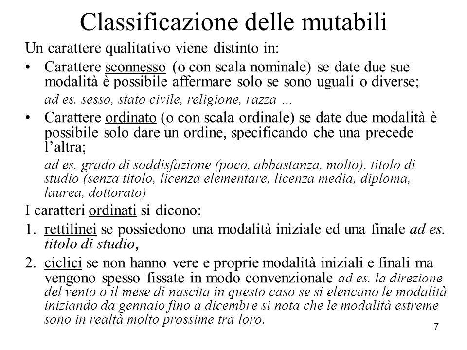 8 Classificazione delle variabili Un carattere quantitativo viene distinto in: quantitativo con scala a intervalli se non esiste uno zero assoluto, naturale e non arbitrario.
