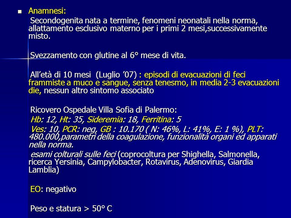 condizione benigna con aumento di volume dei follicoli linfatici intestinali - Laufer et al, J Clin Gastroent 2001, = non sintomi - Laufer et al, J Clin Gastroent 2001, = non sintomi - Schenken et al J Pediatr Surg, = invaginazione e SG ( 25%) - Schenken et al J Pediatr Surg, = invaginazione e SG ( 25%) - Colon et al, Am J Gastroenterol 2001, = watchful observation - Colon et al, Am J Gastroenterol 2001, = watchful observation approach approach - Spodatyk et al, JPGN 2005, associazione con ipoalbuminemia e Ipogammaglobulinemia.Trattamento con steroidi solo se diarrea ed ipoalbuminemia - Spodatyk et al, JPGN 2005, associazione con ipoalbuminemia e Ipogammaglobulinemia.Trattamento con steroidi solo se diarrea ed ipoalbuminemia - Iacono et al, Clin Gastroent and Hepat.2006 : associazione tra iperplasia linfatica nodulare al colon e ileo terminale ed ipersensibilità agli alimenti - Iacono et al, Clin Gastroent and Hepat.2006 : associazione tra iperplasia linfatica nodulare al colon e ileo terminale ed ipersensibilità agli alimenti Iperplasia Linfatica Nodulare ?