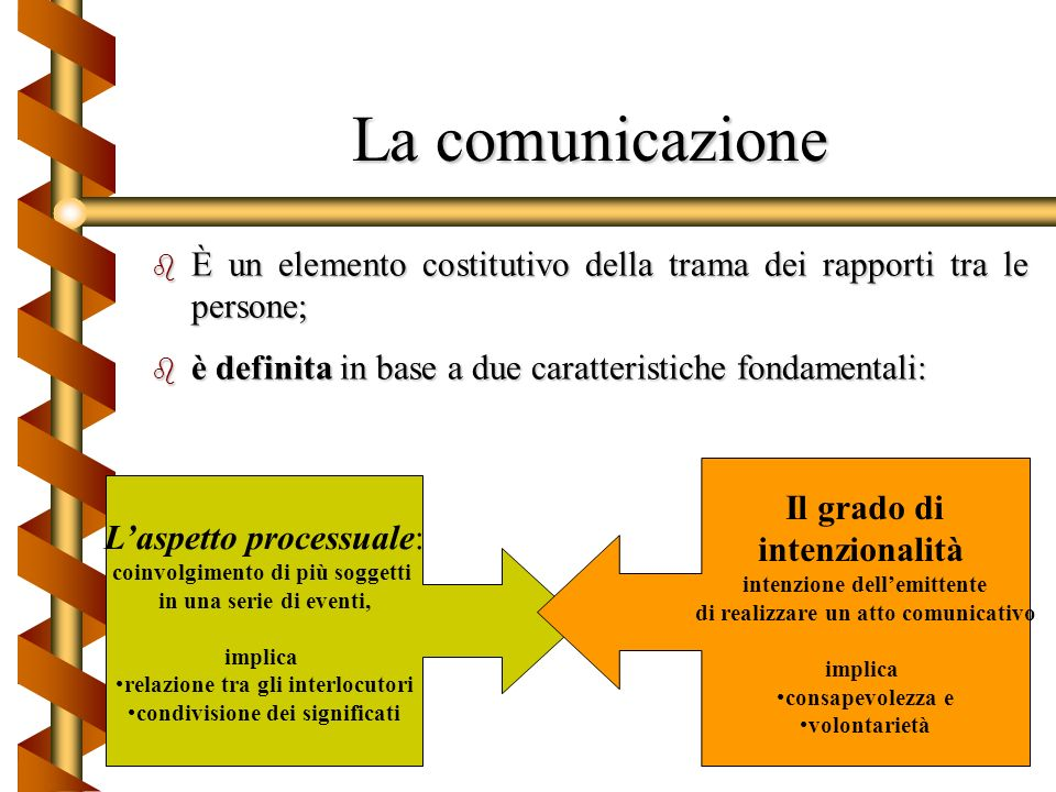 La comunicazione interpersonale b La comunicazione interpersonale risponde ad unampia serie di motivazioni Bisogni di tipo fisico: la sua presenza o a