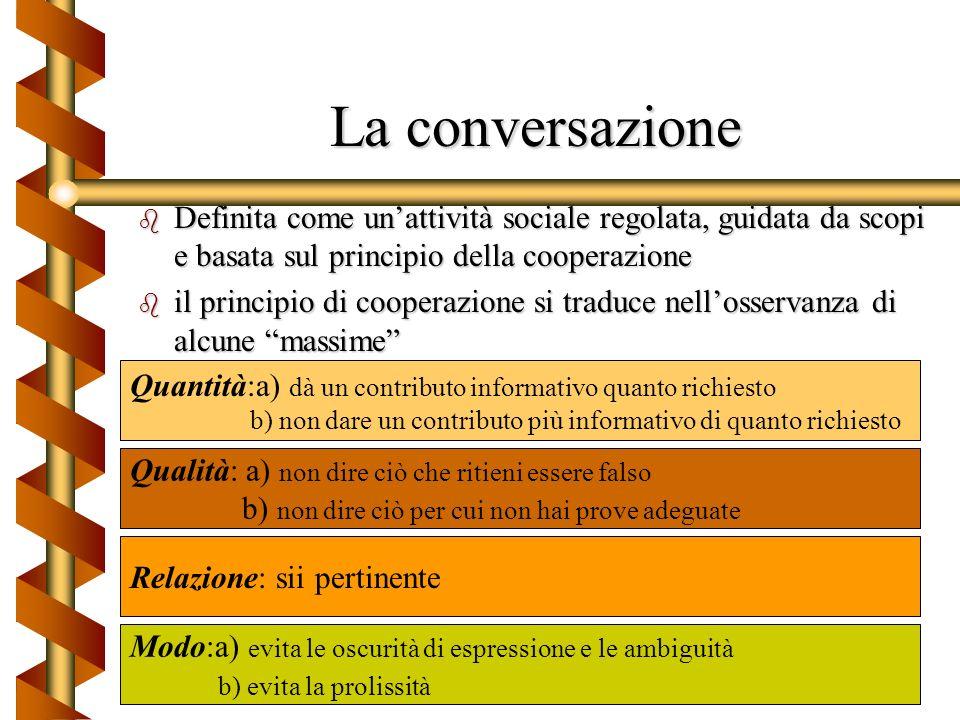 Funzioni della comunicazione Funzione referenziale ( scambio verbale di informazioni) Funzione espressiva (esprime le relazioni tra chi parla e chi as