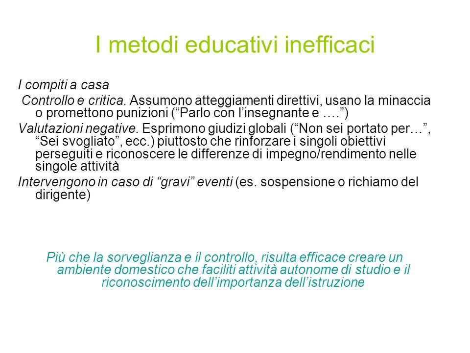 I metodi educativi inefficaci I compiti a casa Controllo e critica.