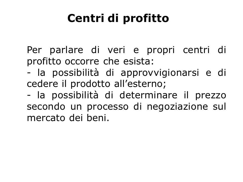 Centri di profitto Per parlare di veri e propri centri di profitto occorre che esista: - la possibilità di approvvigionarsi e di cedere il prodotto allesterno; - la possibilità di determinare il prezzo secondo un processo di negoziazione sul mercato dei beni.