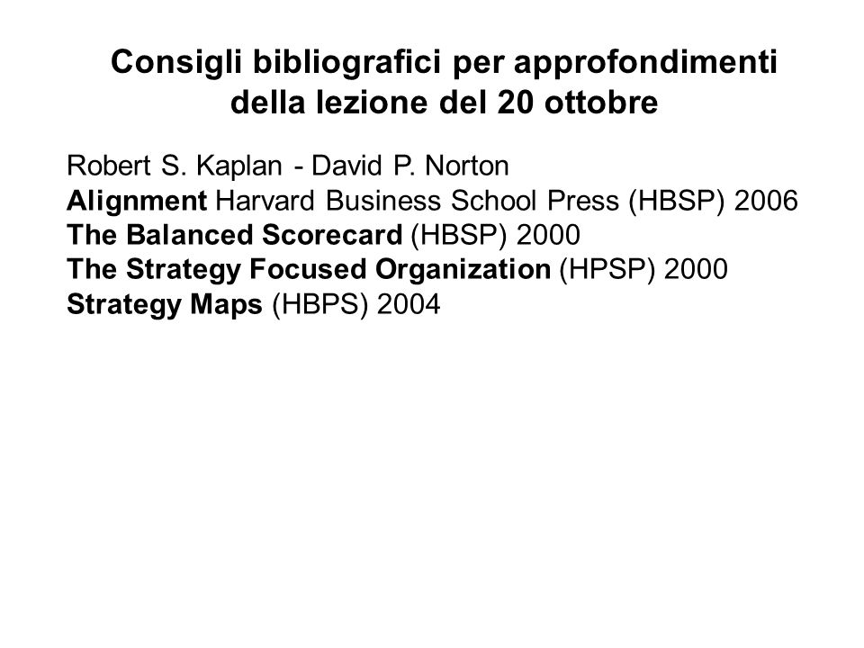 Robert S. Kaplan - David P. Norton Alignment Harvard Business School Press (HBSP) 2006 The Balanced Scorecard (HBSP) 2000 The Strategy Focused Organiz